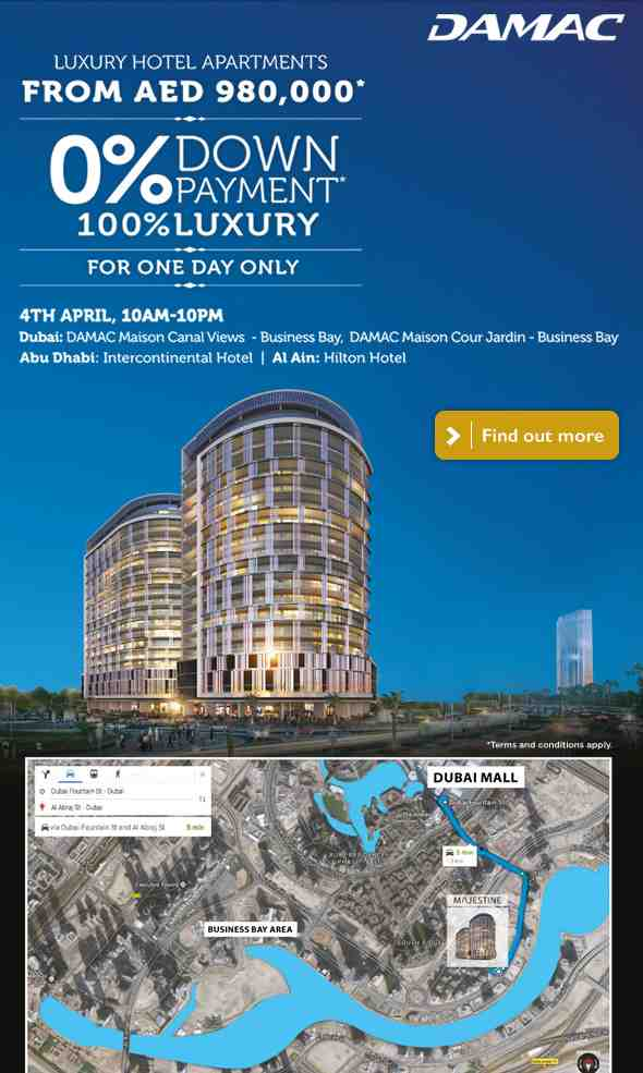 Only on 4th April, 10am to 10pm! Luxury hotel apartments from AED 980,000 with down payment