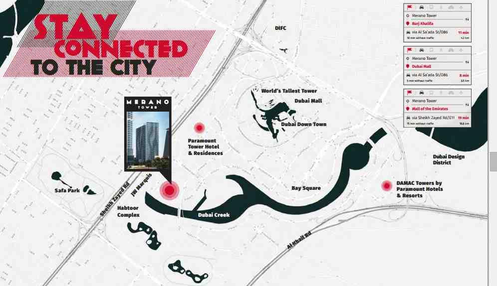 DAMAC Properties - MERANO TOWER Business Bay Dubai Location Map